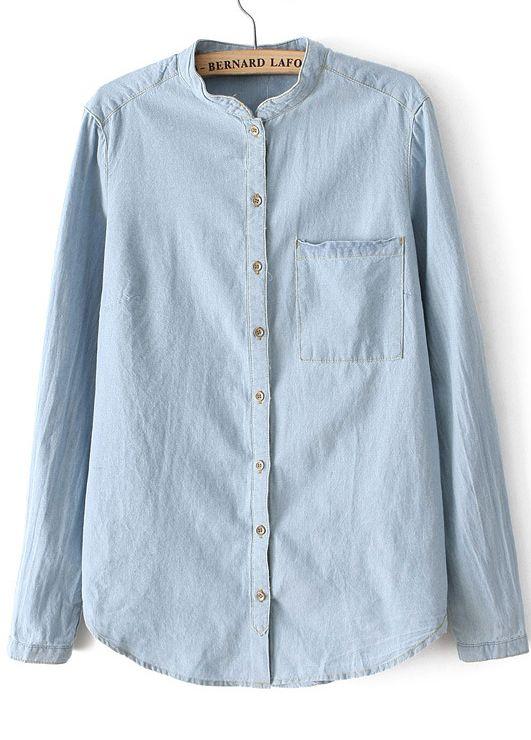 Blue Stand Collar Long Sleeve Pocket Denim Blouse US$24.43