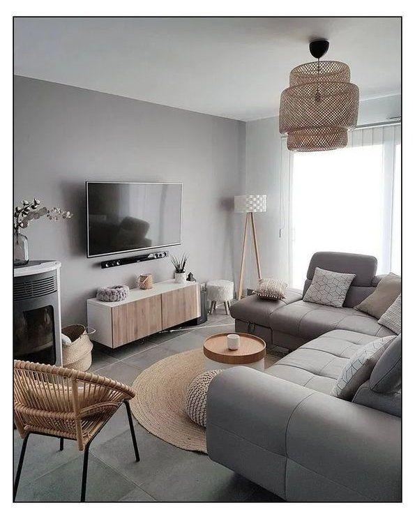 Cozy Minimalist Modern Grey And Beige Living Tv Room With Rattan Boho Chandelier And Rattan Chair Brown And Grey Living Room Furniture Brow Oturma Odası