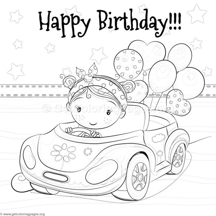 Free Download Little Girl Driving A Car And Balloons Coloring