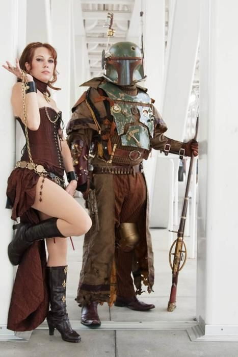 TRIED TO FIND ORIGINAL, IF ANYONE KNOWS, PLEASE HELP ME POINT THIS PIN IN THE RIGHT DIRECTION!!!!!!!  Steam punk Leia and Boba Fett! #fashion #cosplay <3<3