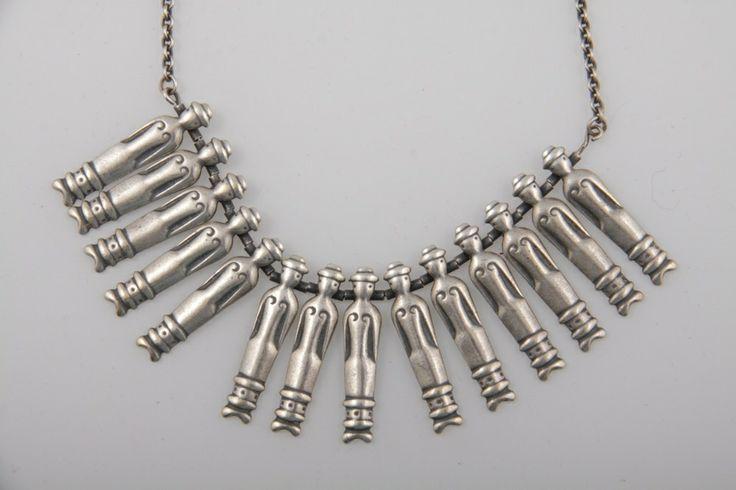"""Kirsti Ilvessalo for Kalevala Koru, """"Nukkekääty"""" (Dolls) necklace, in silver.   Galleria AnnMari's Oy #Finland"""
