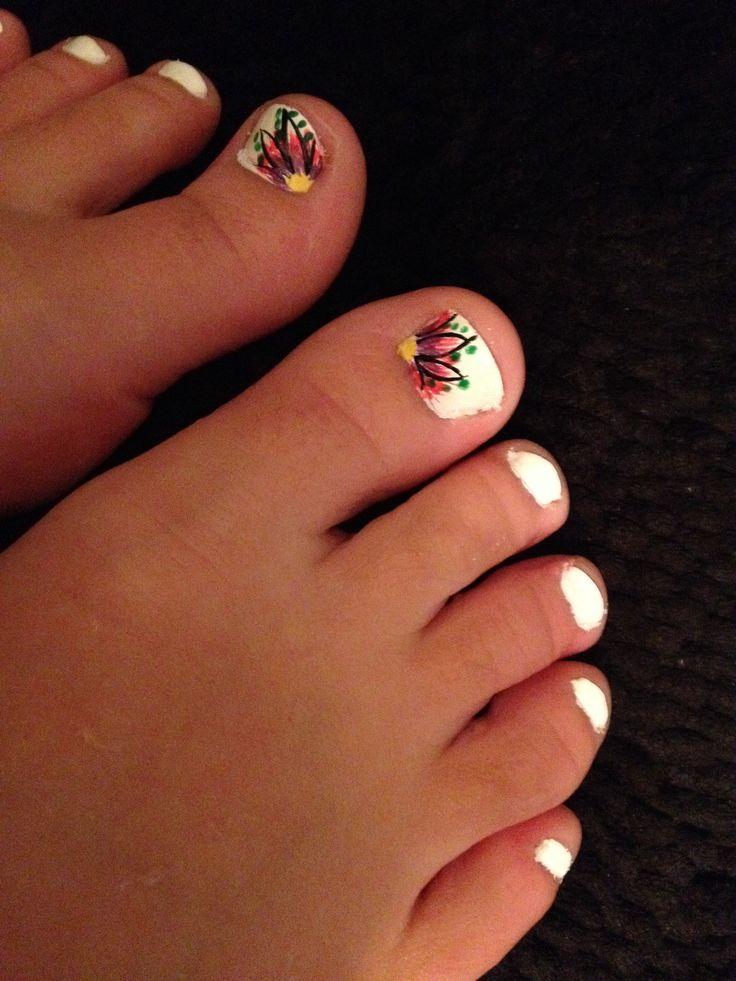 Toenail Design, Feet, Flower, Pedicure, White, Pink