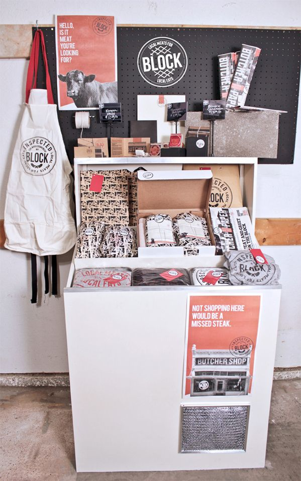 Creative Pop-up store packaging  Block Butcher Shop by Nathan Jones, via Behance PD