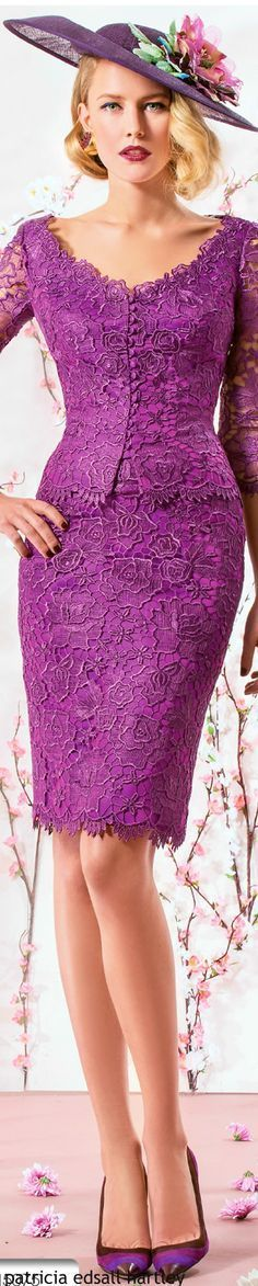 Violet lace short dress. women fashion outfit clothing style apparel @roressclothes closet ideas