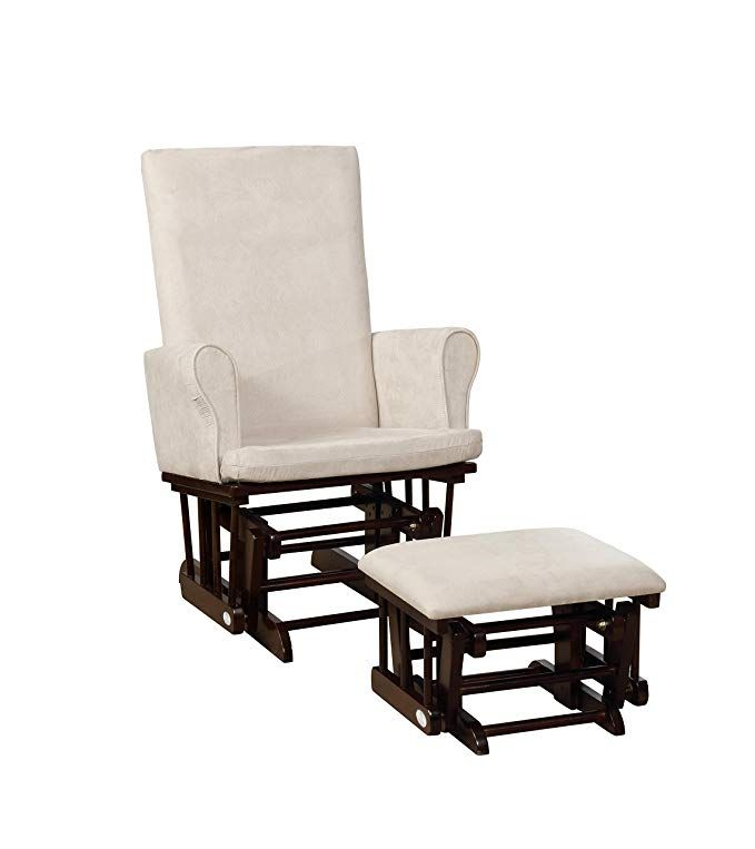 naomi home mateo wood upholstered glider and ottoman set espresso cream