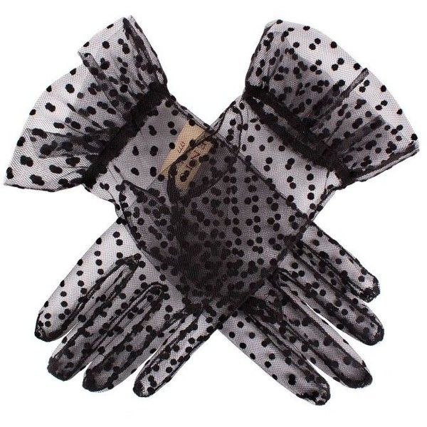 Dents Ladies short sheer spot gloves ($8.96) ❤ liked on Polyvore featuring accessories, gloves, black, dents gloves, polka dot gloves, sheer gloves, dot gloves and short gloves