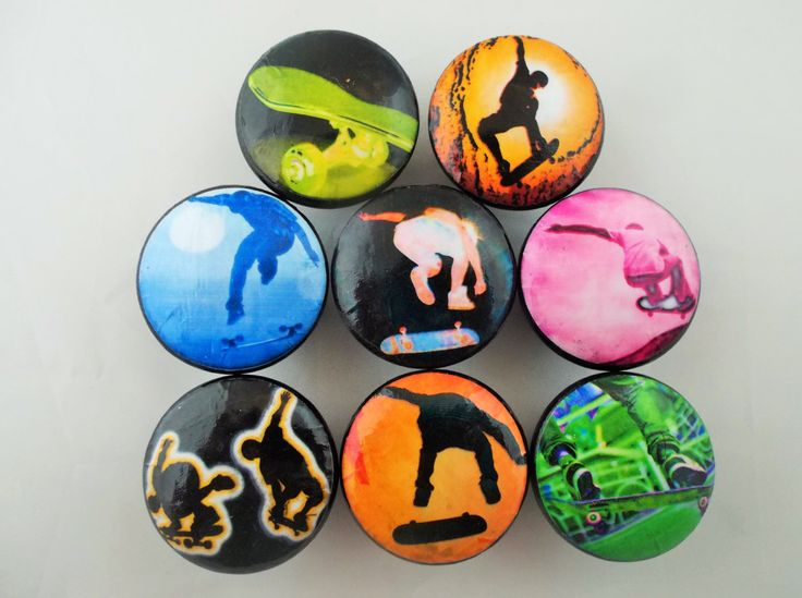 Set of 8 Skate Boarder Cabinet Knobs by TwistedRDesign on Etsy https://www.etsy.com/listing/250210502/set-of-8-skate-boarder-cabinet-knobs