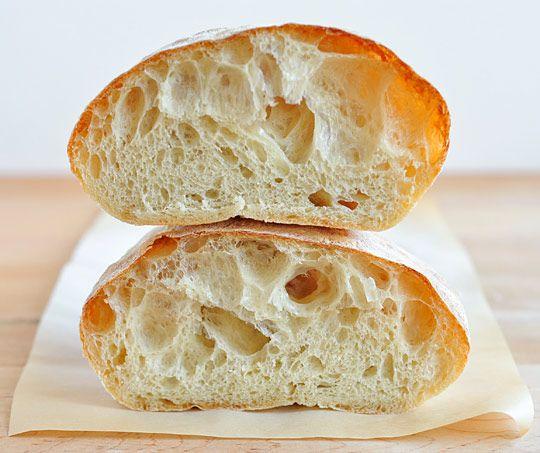 Recipe for perfect ciabatta bread or rolls. No bread machine required.
