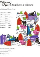 ESL - English Exercises: Winnie the witch - Numbers and colours