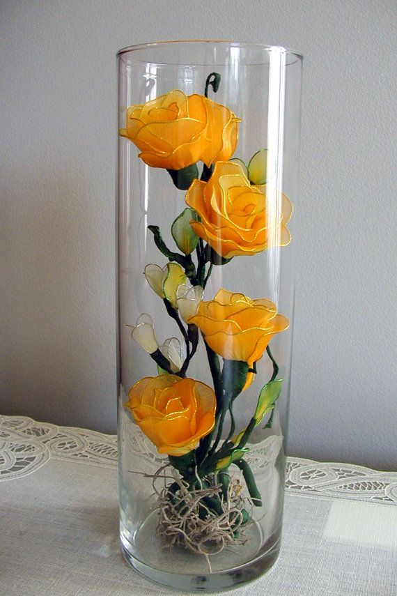 Handmade small Roses Arrangement in the Glass by LiYunFlora, $28.00