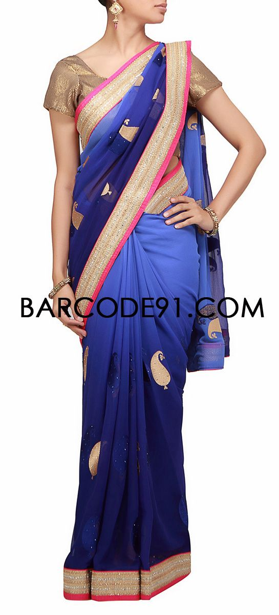 buy it now http://www.barcode91.com/shaded-chiffon-saree-with-sequence-embroidered-border-by-b91-exclusive.html