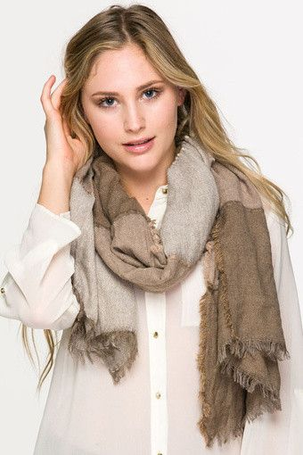 Taupe Fringe Trim Patter Open Scarf