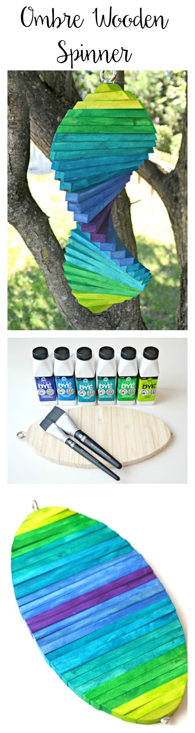 Ombre Wooden Spinner with FolkArt Ultra Dye  #sponsored @plaidcrafts