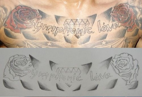 chris brown symphonic love tattoo | Chris Browns Symphonic Love Diamond Roses Tattoo