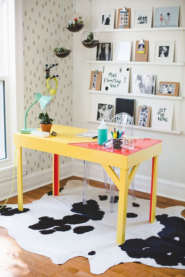 Colorful epoxy topped desk. Dream workspace :)
