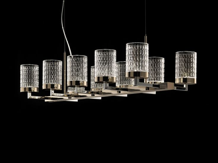 QUARZO Chandelier In Chrome And Light Gold Metal Structure With Carved  Crystal Diffusers. Design Studio
