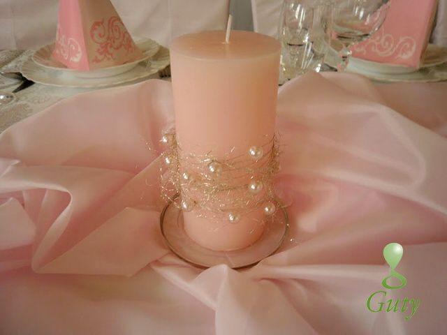 Sviečka dekorovaná drôtom a perličkami