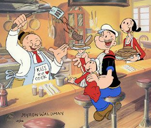 """The whole gang - Popeye, Olive Oyl, Wimpy and Sweetpea.  """"I'll gladly pay you Tuesday for a hamburger today""""."""