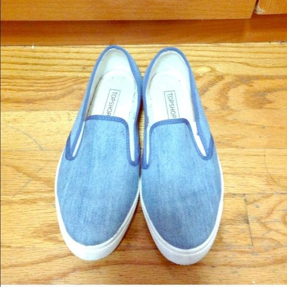 Denim Slip On Shoes ‼️‼️THIS SHOE HAS NOT BEEN SOLD YET‼️‼ ️The buyer did not read the description fully and didn't realize that it wouldn't fit her.... I had to cancel the order and poshmark doesn't let you delete was has been sold. PLEASE refer to previous post for description and condition of the shoes. Topshop Shoes Sneakers