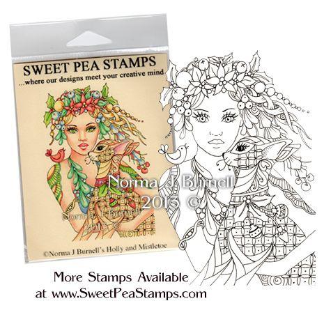 Holly & Mistletoe - Original Fairy Tangles™ designs by Norma J Burnell