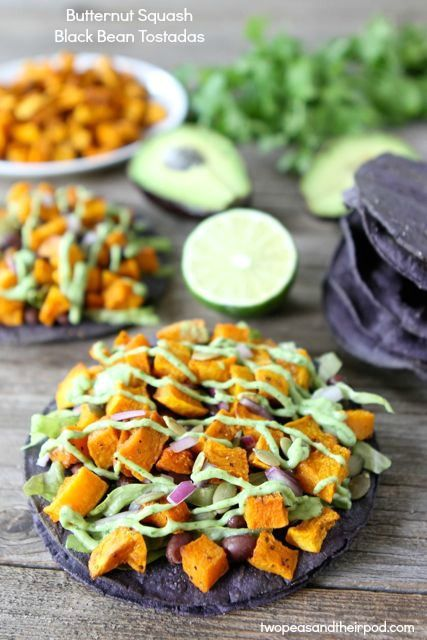 Butternut Squash Black Bean Tostadas from www.twopeasandtheirpod.com #recipe #vegetarian...i make vegan buttermilk by adding lemon juice to unsweetened plain almond milk (or coconut milk)...i think it would work for this avocado sauce!!  totally going to try this week...