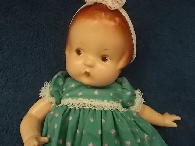 Antique Effanbee Patsy Doll Bisque 14 Inches Green Dress Pink Shoes Doll Stand #Dolls