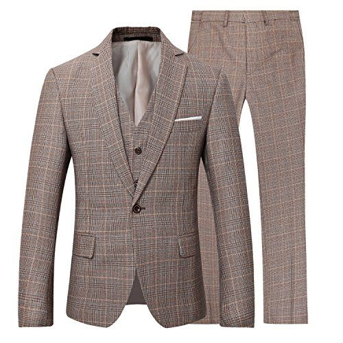Mens Linen Suit Separate Blazer Jacket Tux Vest Suit Pants  MATERIAL: Linen Fiber | Linen, one of the oldest natural fiber being used in making apparels, this special material endow our Suit with unique texture and visual beauty. Also, the high material strength provides with a wrinkle-resistant quality that keeps you looking crisp and confident  The Jacket: Classic-fit blazer featuring One-button closure, Straight flap pockets at waist  The Vest: 4 Button Front,Adjustable Back Strap  ...