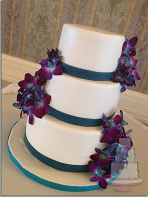 blue purple wedding cake teal and purple orchids wedding cake gallery kake 12003