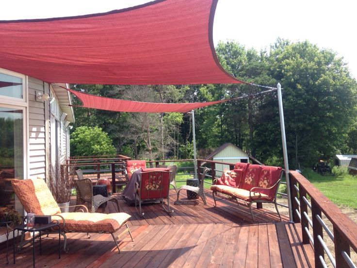 Home Depot Shade Sails On Our Deck Backyard Shade In