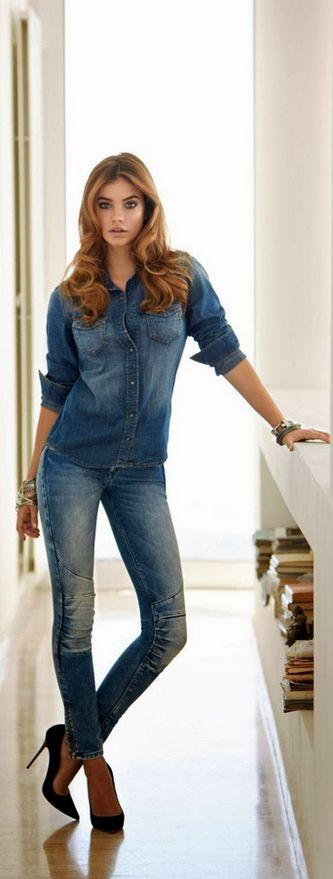 Barbara Palvin, skinny jeans, heels, denim shirt, denim on denim