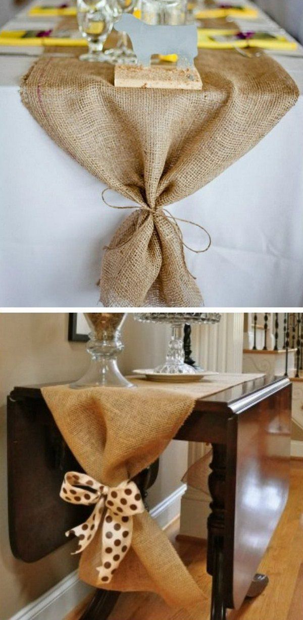 DIY Burlap Table Runne...