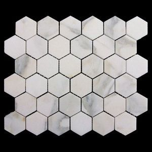 "2"" Hexagon Mosaic Tile Honed Calacatta Gold Italian Marble Premium Grade High Quality Marble"