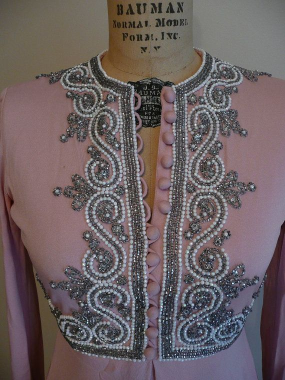 Vintage 1960s Dress Beaded Victoria Royal by CreatedAndCollected