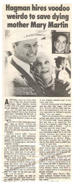 Hagman, Larry / Hagman Hires Voodoo Weirdo to Save Dying Mother Mary Martin | Magazine Article + Photo | 1990