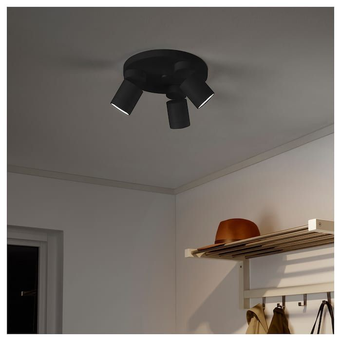 Nymane Loftspot Med 3 Spot Antracit Ikea Ceiling Spotlights Living Room Light Fixtures Room Lights