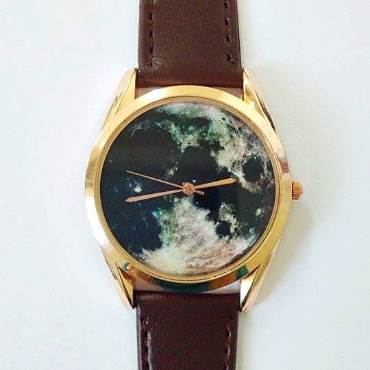 Moon Watch, Vintage Style Leather Watch, Women Watches, Boyfriend Watch, World Map, Men's Watch,  Astronomy ,