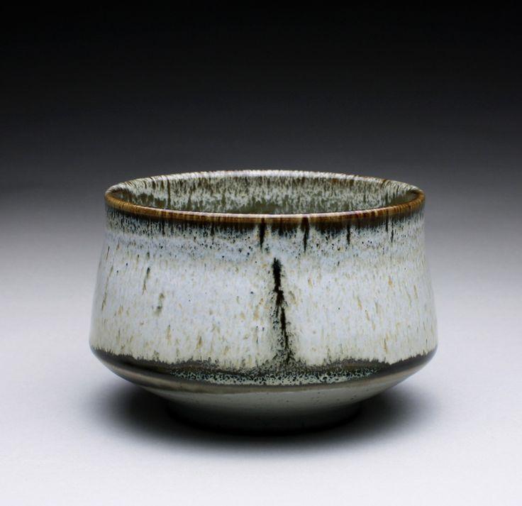 Stoneware bowl with celadon, tenmoku and nuka glazes.