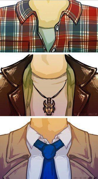 Sam [plaid], Dean [leather] & Cas [tie & trench coat] Fan Art