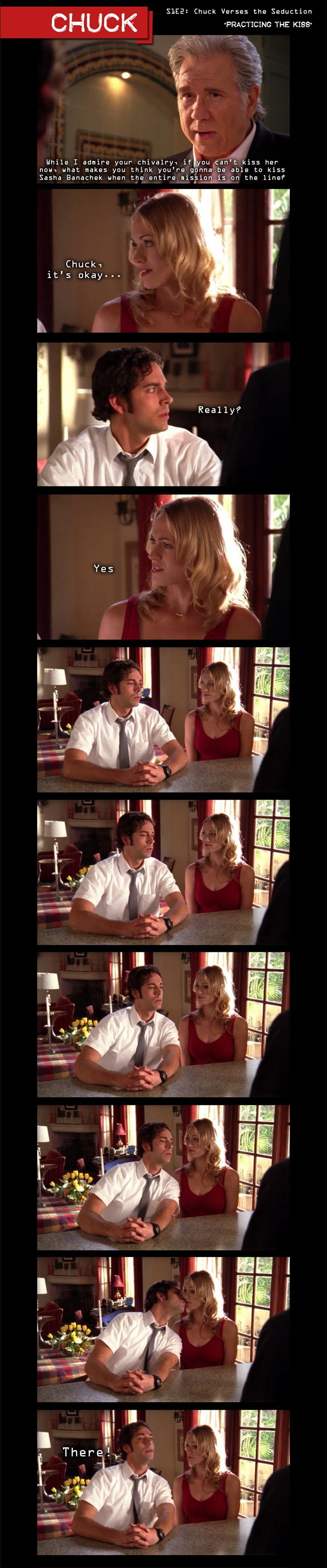 "Chuck: Season 2, Episode 2 ""Chuck Verses the Seduction"". Practicing the kiss...!"