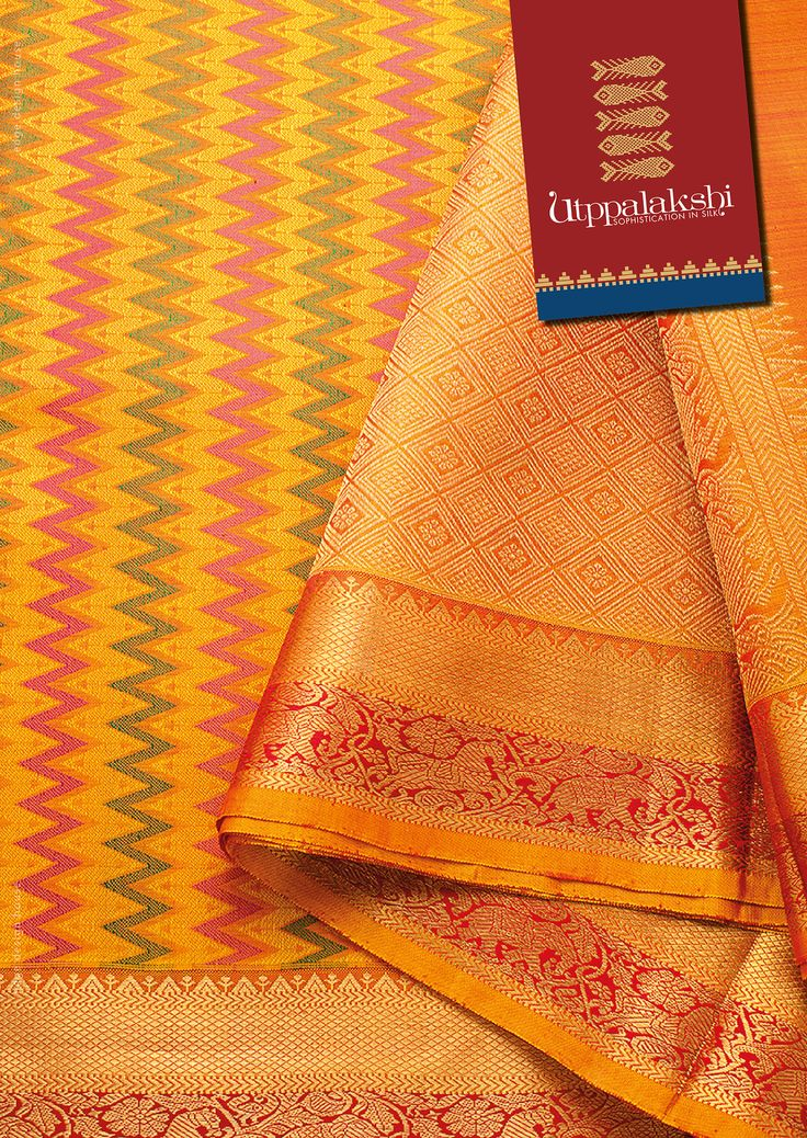 Elaborate double zig zag pattern in hot pink and green, running all over the mustard yellow saree. The double pattern in the border reinforces the skill of the weaver. Feel royal with horses and elephants in zari border. #Utppalakshi #Sareeoftheday#Silksaree#Kancheevaramsilksaree#Kanchipuramsilks #Ethinc#Indian #traditional #dress#wedding #silk #saree#craftsmanship #weaving#Chennai #boutique #vibrant#exquisit #pure #weddingsaree#sareedesign #colorful #elite