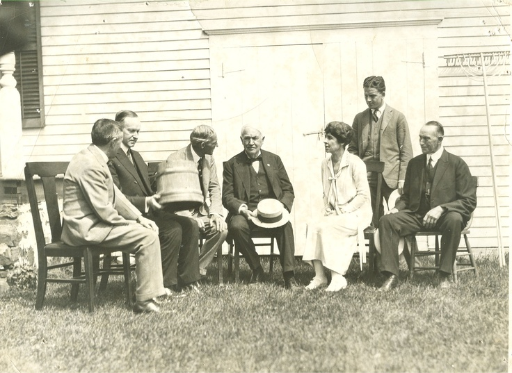 Historic photo of luminaries of the 1920's gathered at Calvin Coolidge's home in Cabot, VT, mid 1920's. Henry Ford is talking to Thomas Edison in the center.