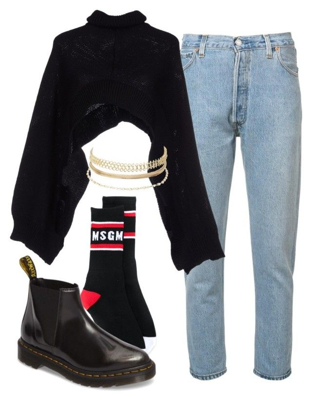 """Untitled #1413"" by nneomaswag ❤ liked on Polyvore featuring RE/DONE, Charlott, MSGM, Dr. Martens and Charlotte Russe"