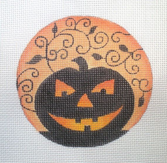 Handpainted Pumpkin Vines needlepoint canvas by colors1 on Etsy (Craft Supplies & Tools, Sewing & Needlecraft Supplies, Canvas & Stitchables, pattern, holidays, halloween, ornament, pumpkin, jack o lantern, embroidery, cross stitch, halloween decor, needlepoint, needlepoint canvas, needlepoint pillow, needlepoint pattern)
