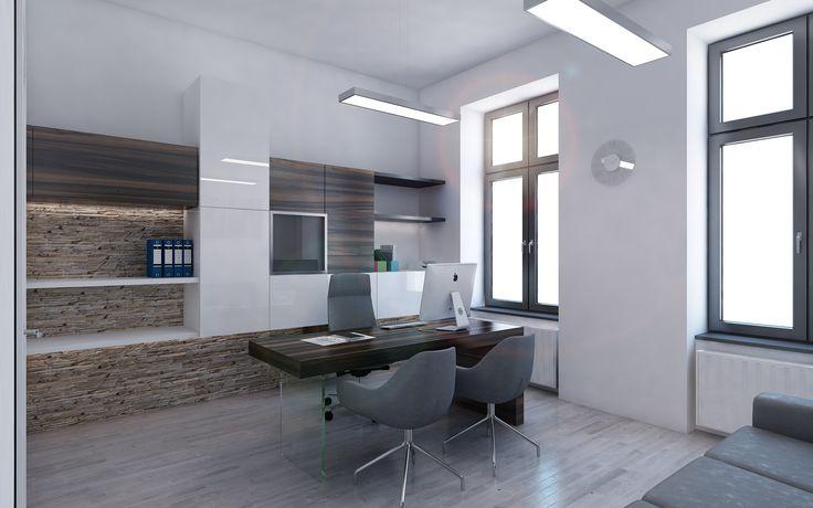 Na zadní stěně pracovny jsme navrhli designové úložné prostory v podobě dvou protínajících se hmot, které materiálově navazují na zbytek interiéru. Pracovní stůl působí odlehčeným dojmem díky použití skleněné podnože. Do pracovny jsme navrhli jako doplněk rozkládací sedačku, díky níž bude pracovna sloužit i jako pokoj pro hosty.