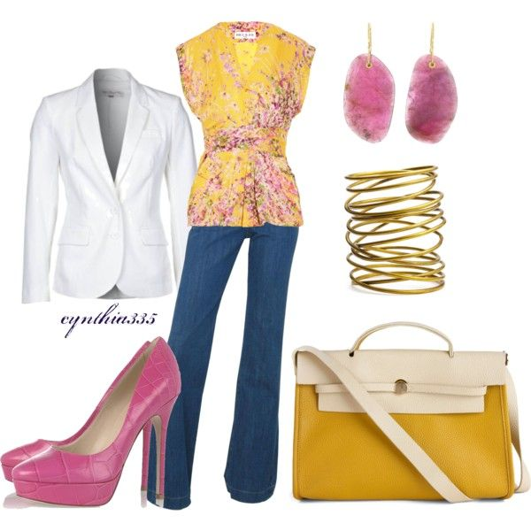 Casual friday: Idea, Color, Outfit Styles, Yellow Bags, Casual Fridays, Pink Shoes, Closet, Spring Outfit, Top