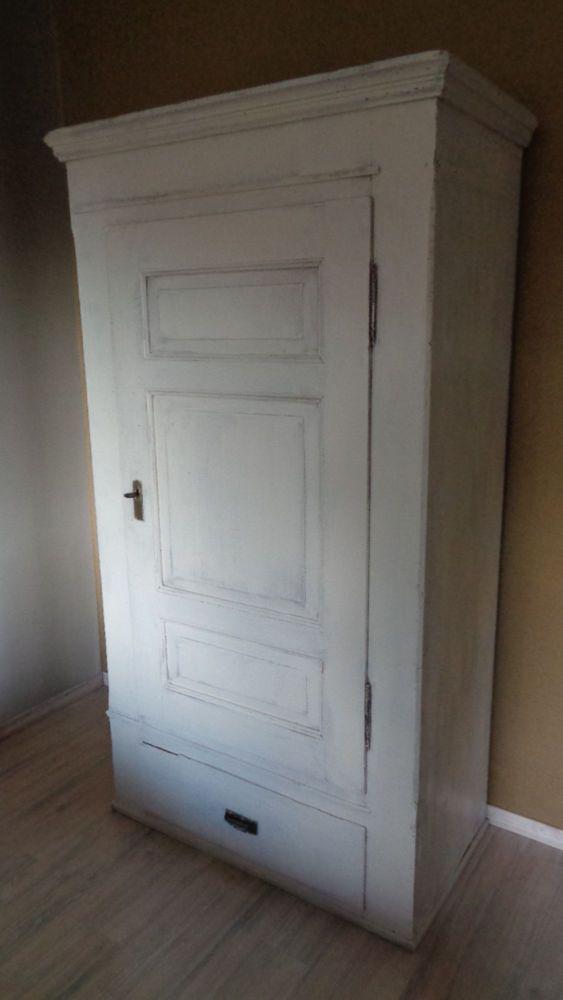 Schöner Antiker Schrank Holz Weiß Antiquitäten Kunst Mobiliar