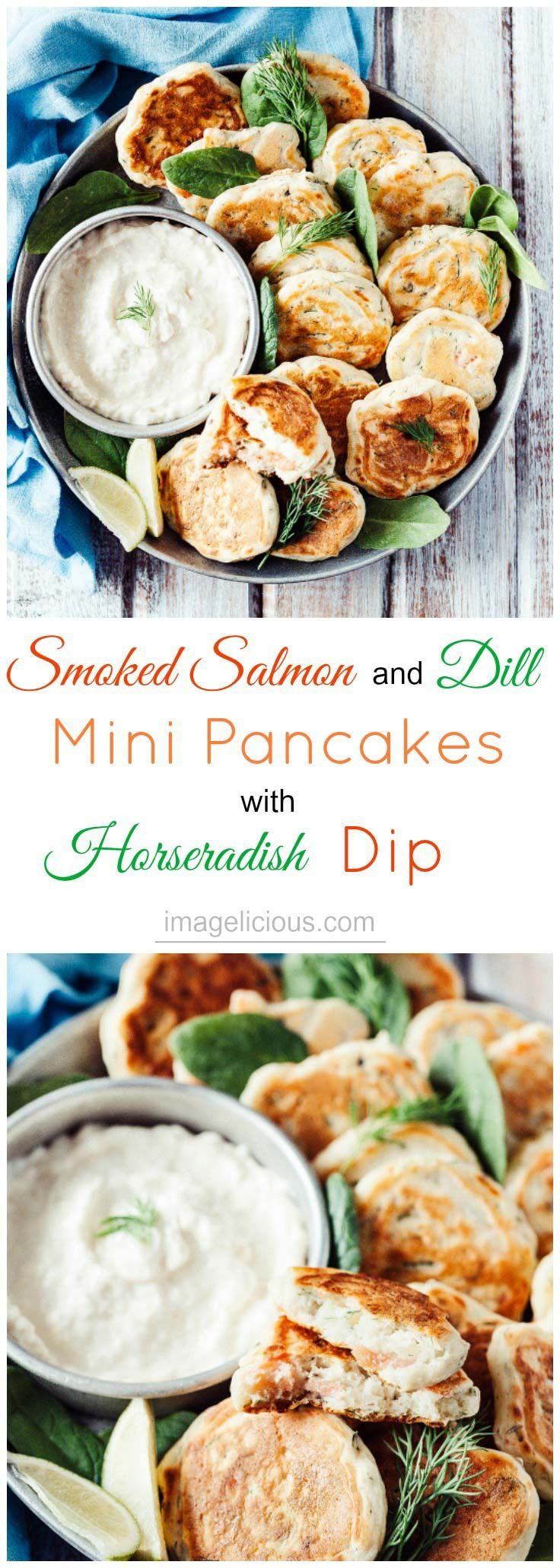 These Smoked Salmon and Dill Mini Pancakes with Horseradish Dip are a perfect appetizer to serve with a glass of sparkling wine and an excellent addition to any brunch | Imagelicious