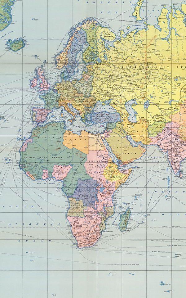 Authentic World Map.Pastel Vintage Wallpaper Muralswallpaper In 2019