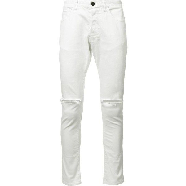 Daniel Patrick ripped knee skinny jeans ($250) ❤ liked on Polyvore featuring men's fashion, men's clothing, men's jeans, white, mens ripped jeans, mens destroyed jeans, mens distressed jeans, mens distressed skinny jeans and mens white jeans