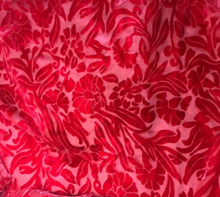 Burnout Silk VELVET Fabric CHERRY
